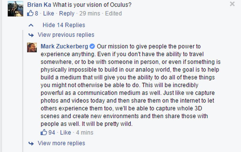 Марк Цукерберг о шлеме Oculus
